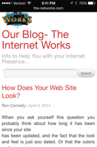 Responsive design of this blog shown in this iPhone screenshot