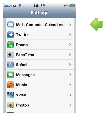 iPhone settings: mail, contacts, calendar